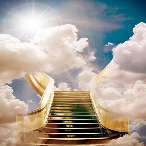AOFOTO 8x8ft Stairway to Heaven Backdrop Paradise Stairs Holy Dreamy Clouds Photography Background Divine Sky Belief Pray Faith Bless Wedding Photo Studio Props Vinyl Wallpaper Adult Kid Portrait