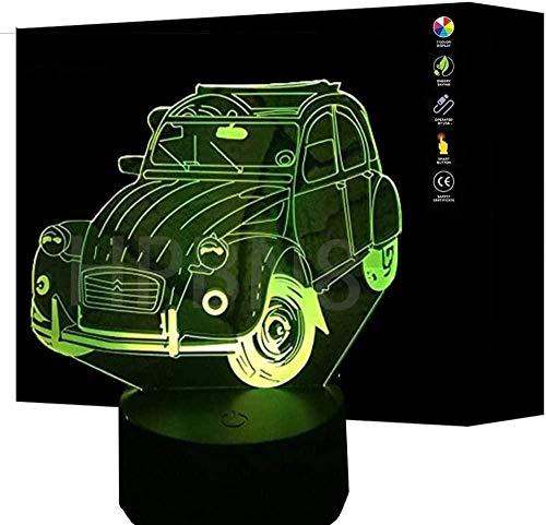 Boutiquespace Lámpara de coche 3D de alimentación USB de 7 colores sorprendente ilusión óptica 3D crecer lámpara LED formas de dormitorio de los niños luz de noche