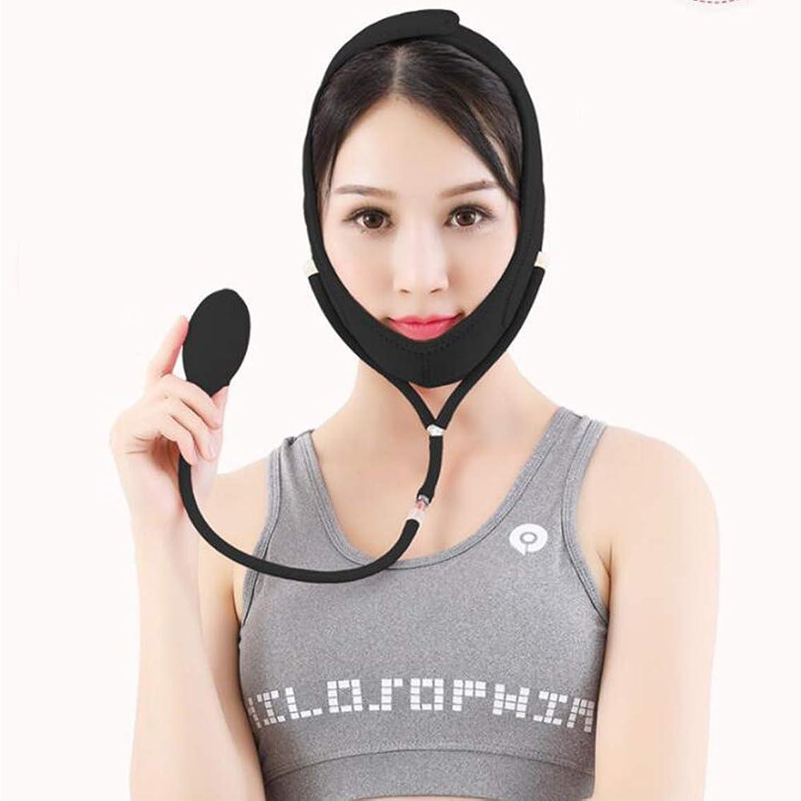 知覚的パレードジャケットフェイスリフトベルト インフレータブルマスク付きフェイスリフトベルトスキニーフェイスVフェイスアーチファクトスモールフェイスタイプスリーピングマスクタイトバンデージ (色 : B, サイズ さいず : L l)