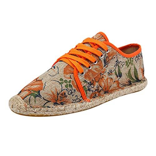 YWLINK Zapatos Hombre Casual Transpirable Zapatos De Lona De Moda Los Zapatos Perezosos CóModo Fiesta En La Playa Zapatillas De Deporte Corriendo Ciclismo Regalo del DíA De Miembro(Naranja,44EU)