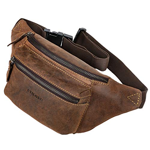 STILORD 'Portland' Bum Bag Leather Vintage Bum Bag Hip Pocket of Breast Pocket voor Camera Jogging Travel Festival Sporten Echt leer, Kleur:novello - bruin
