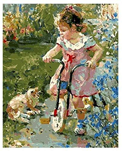 N-S Pintura al óleo de Bricolaje Kits de Pintura por números para niña Pintura de Bricolaje por números Pintura acrílica al óleo para Adultos Niños Artes para el hogar 40x50 CM (Sin Marco)