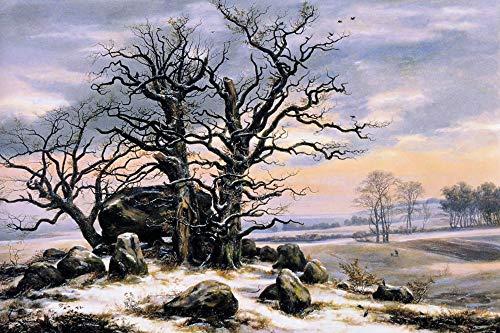 1art1 Johan Christian Clausen Dahl - Hünengrab Nahe Vordingborg Im Winter, 1824-25 Poster Kunstdruck 120 x 80 cm