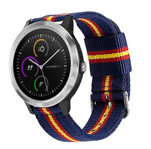 Estuyoya - Pulsera de Nailon Compatible con Garmin Vivoactive 3/Galaxy Watch Active 2/Forerunner 245/645 Music/Suunto 3/Polar Ignite Colores Bandera de España Transpirable Elegante 20mm - OTAN