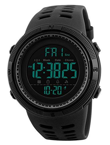 Reloj digital, para hombre, para actividades al aire libre, deportivo, militar, sumergible, cronógrafo, cuenta atrás, luces LED, con alarma, de goma negra