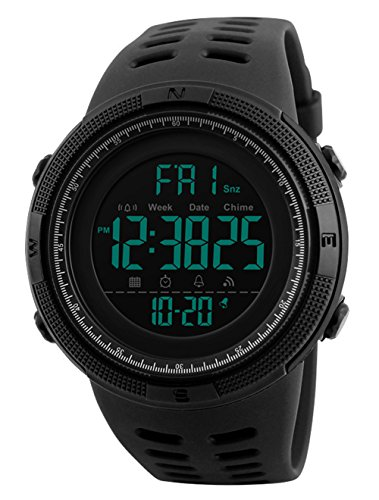 Herren Digital Sport Uhren - Outdoor wasserdichte Armbanduhr mit Wecker Chronograph und Countdown Uhr, LED Licht Gummi Schwarz große Anzeige Digitaluhrenfür Herren