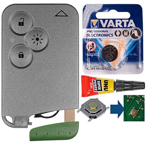 Repair Reparatur Satz Autoschlüssel Karte Smartkey Fernbedienung Austausch Gehäuse mit 3 Tasten + Notschlüssel Rohling + 1x Drucktaste + Batterie kompatibel mit Renault Laguna 2 Espace 4 Vel Satis