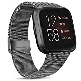 Metal Bands Compatible with Fitbit Versa 2 / Versa/Versa Lite SE Band, Stainless Steel Replacement Sport Bracelet Strap Wristbands with Magnetic Lock for Versa Smartwatch (Small, Space Gray)