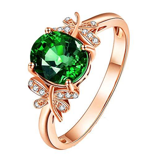 Oro Rosa Esmeralda Piedras Preciosas Anillos De Cristal Verde Para Mujer Femme Bijoux Diamantes Jade Anillos Mujer Moda Regalo De Joyería De Lujo