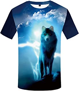 KYKU Unisex Wolf Shirts for Men with Moon Animal Tshirts 3D Printed Graphics Tee