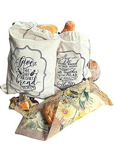 Linen Bread Bags For Homemade Bread LINEN with Beeswax Wraps - 100% Organic Linen   Eco-Friendly   Bread Bags For Homemade Bread And Produce
