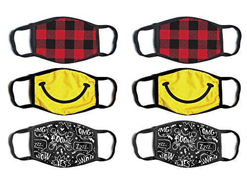 ABG Accessories Boys' Reusable Protective Fashion Face Masks (6 Pack), Plaid/Smiley Face, Size Age 4-14