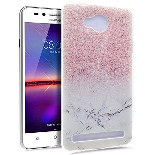 Kompatibel mit Huawei Y3 II Hülle,Huawei Y3 II Schutzhülle,Gemalt Kunst Malerei Handyhülle Silikon TPU Silikon Hülle Handyhülle Tasche Durchsichtig Schutzhülle für Huawei Y3 II,Rosa Marmor Marble