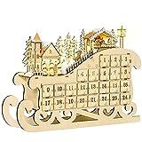 HOMCOM Calendario de Adviento de Navidad Madera con 24 Cajones y Luces LED Decoración Navideña Modelo Trineo 45x10x31 cm Madera Natural