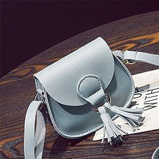 Fashion Single-Shoulder Bags 2 PCS Children Cute Tassel Mini-Straddle Bag(Red) (Color : Blue)