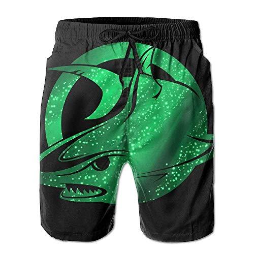 Bañador de Hombre Beach Board Shorts Galaxy Green Cool Shark Swim Trunks Negro