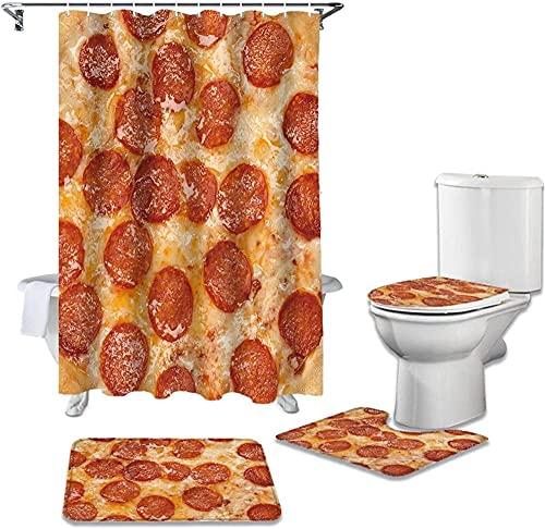 Juego De Alfombrillas De Baño De Burrito De Pizza Gigante De Alimentos, Juego De Baño, Tela Duradera, Impermeable, Juego De Cortina De Ducha, Alfombra, Alfombra, Tapa De Inodoro, Cubierta, Alfombril