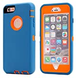 AICase iPhone 8 Plus/7 Plus Case, [Heavy Duty] [Full Body] Tough 3 in 1 Rugged Shockproof Water-Resistance Cover for Apple iPhone 8 Plus/7 Plus (Orange/Blue)