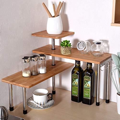 Remylady Estante esquinero de 3 niveles de bambú para especias, estantería, estantería, organizador de ahorro de espacio para salón, cocina, oficina