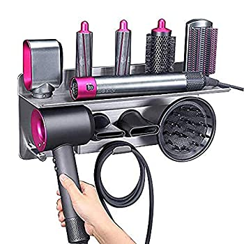 Hair Dryer Holder for Dyson Supersonic Hair Dryer for Dyson Airwrap Styler Organizer Storage Shelf 2in1 Wall Mounted Stand Fits Curler Diffuser Two Nozzles for Bathroom Bedroom Hair Salon Barbershop
