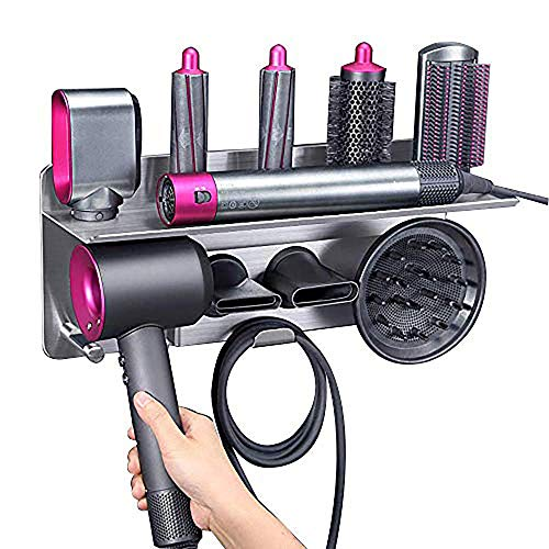 Hair Dryer Holder for Dyson Supersonic Hair Dryer, for Dyson Airwrap Styler Organizer Storage Shelf 2in1 Wall Mounted Stand Fits Curler Diffuser Two Nozzles for Bathroom Bedroom Hair Salon Barbershop