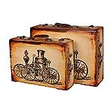 Las maletas de cartón Conjunto de 2 maleta de la vendimia del tesoro de la vendimia en el pecho Caja de almacenamiento maleta de equipaje, for la decoración casera de almacenamiento Maleta de la vendi
