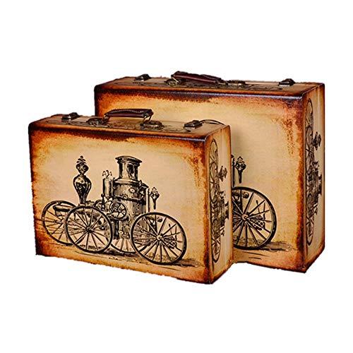 Vintage Aufbewahrungstruhen Set 2 Weinlese-Koffer Schatztruhe Vintage-Aufbewahrungsbehälter-Koffer Gepäck, for Hauptdekor Weinlese-Koffer Storage (Farbe: Beige, Größe: groß + klein) Koffer dekorieren