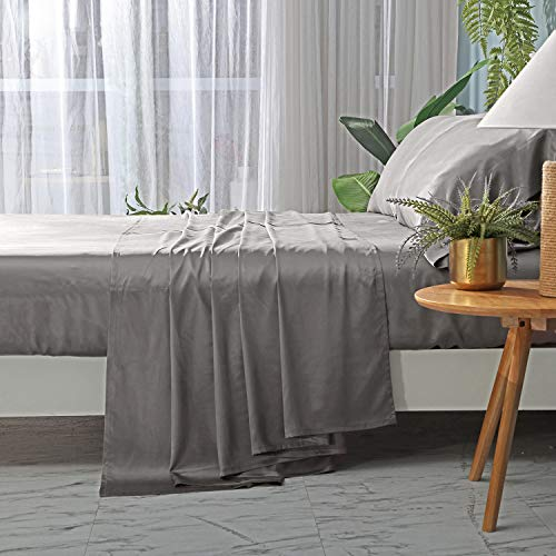 ZIMASILK 4 Pcs 100% Mulberry Silk Bed Sheet Set,All Side 19 Momme Silk (Queen, Dark Grey)