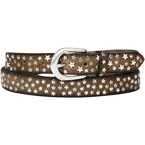 B.Belt - Cinturón para mujer (2,5 cm), diseño de estrellas, color gris pardo 80 cm (Ropa)