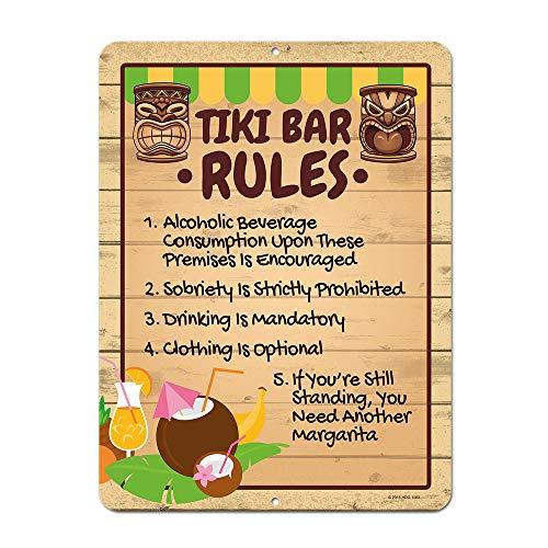 Honey Dew Gifts Honig Tau Geschenke Tiki Bar Rules, 9x 12Neuheit Zinn Tiki BAR Decor und Schilder, Tiki Dekorationen