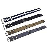 Gosear 4 pz 4 colori Moda Colorata Tessuto Nylon Tessuto Sostituzione Polso Guardare Band Cinturino Bracciale cintura con Acciaio inossidabile Fibbia Chiusura 20mm
