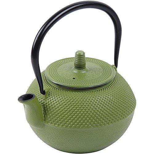 Teekanne Gusseisen 1,25 Liter Teekessel Grün Tee Kanne inkl. Edelstahl Teesieb Asiatischer Stil mit praktischem Henkel