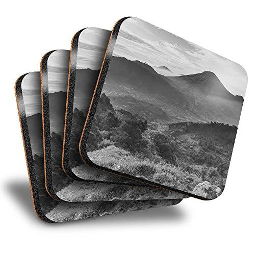 Destination Vinyl ltd Great Posavasos (juego de 4) cuadrados – BW – Java Landscapes Indonesia Drink brillante posavasos / protección de mesa para cualquier tipo de mesa #37568