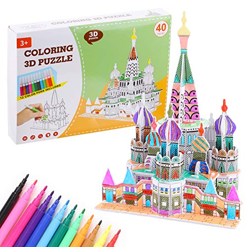 vamei 3D Puzzle for Kids Art Craft for Kids Castle Coloring Painting Puzzle 3D Jigsaw Puzzle Educational Creative DIY Toys Gift for Girls and Boy Age 5 6 7 8 9 10 11 12