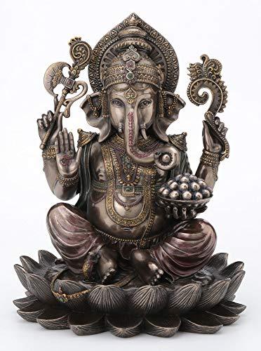 Veronese Design 10.24 Inch 5 lbs Lord Ganesha Sitting on Lotus Hindu God Antique Bronze Finish Statue