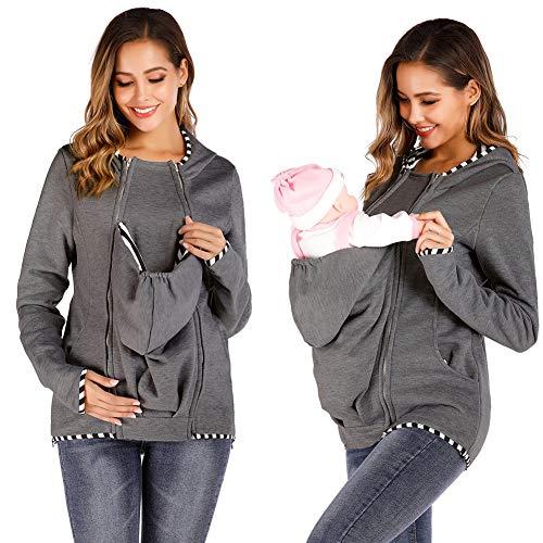 Winter Baby Carrier Hoodie Maternity Kangaroo Hooded Sweatshirt Made with Detachable Baby Bag (Grey XL)