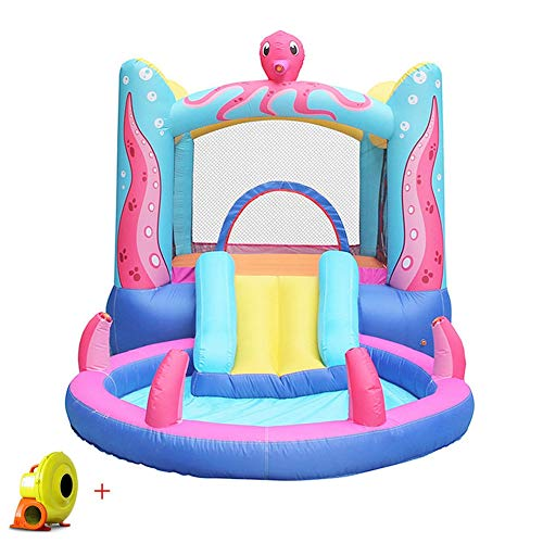 Water Bouncy Castle Inflatable Children Trampoline Cute Octopus Outdoor Activity Play Center House Jumper Water Slide Combo?Garden for with Electric Air Blower Airbeds