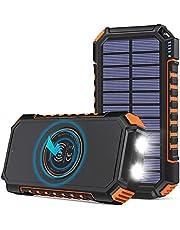 Solar Charger 26800mAh, Hiluckey draadloze draagbare oplader Qi Power Bank met 4 uitgangen en LED-zaklamp, USB C Quick Charge waterdichte telefoonlader voor smartphones, tablets en buitenshuis