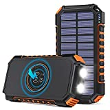 Hiluckey Cargador Solar 26800mAh Batería Externa Inalámbrica Power Bank USB C Carga Rápida Cargador Portátil con 4 Salidas para Smartphones, Tablets