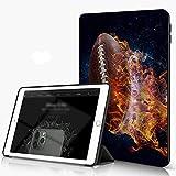 She Charm iPad 10.2 Pouces 7ème Génération 2019 de qualité supérieure, Ballon de Rugby de Flamme de feu, Housse Étui avec Veille/Réveil Automatique