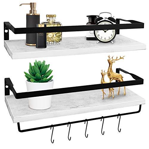 White Floating Shelves for Wall Set of 2, HIPPIH Rustic Cedar Wood Floating Shelf with Rails & Towel Holder, Decorative Storage Floating Shelves for Bathroom, Living Room, Kitchen and Bedroom
