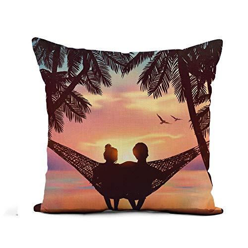 N\A Throw Pillow Cover Pareja de Enamorados en la Playa en la Hamaca Funda de Almohada de inspiración Decoración del hogar Funda de Almohada de Lino de algodón Cuadrada Funda de cojín