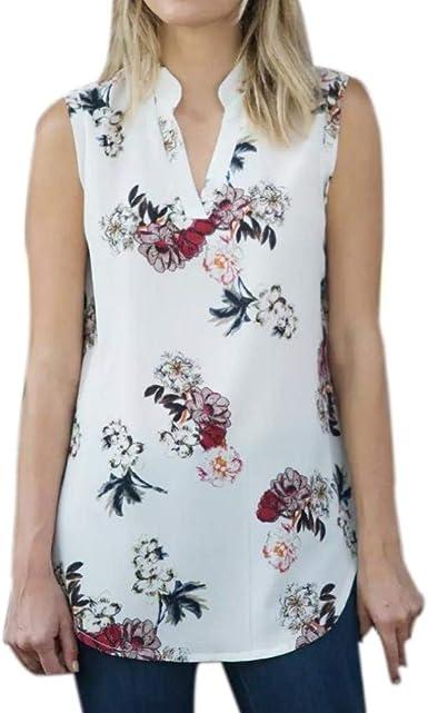 Mujer Tapas del Fashion Blusas Floreadas Vintage Simple ...
