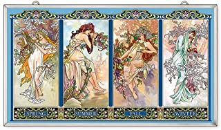 Amia Art Nouveau Four Seasons Handcrafted Glass, Window Décor Panel Multicolored