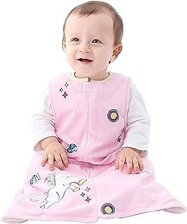 MICHLEY Baby Schlafsack Decke Pyjama Leicht Baby Mädchen ärmel Schlafanzug Schläfer 12-18 Monate,Rosa