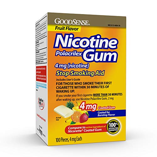 GoodSense Nicotine Polacrilex Coated Gum 4 mg (Nicotine), Fruit Flavor, Stop Smoking Aid; Quit Smoking with Nicotine Gum, 100 Count