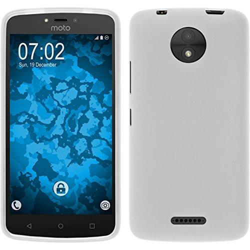 PhoneNatic Case kompatibel mit Lenovo Moto C Plus - weiß Silikon Hülle matt + 2 Schutzfolien