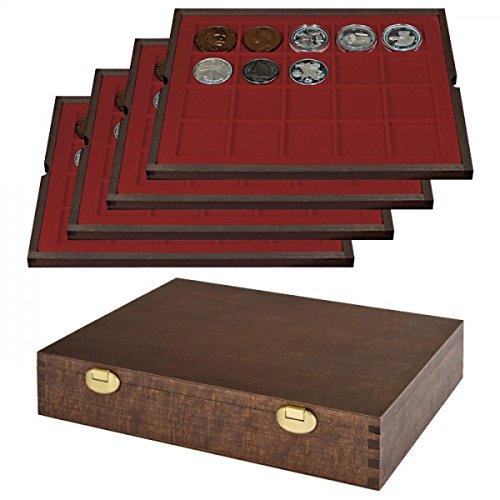 LINDNER Echtholz Münzkassette mit 4 Tableaus für 80 Münzen/Münzkapseln bis Ø 47 mm - Sonderedition