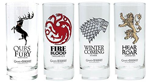 Pack de cuatro vasos de Juego de tronos, Stark, Lannister, Targaryen, Baratheon, escudo