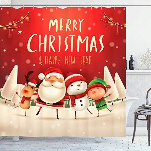 KYKU Duschvorhang, Weihnachtsmann, Elch, Schneemann Happy New Year, wasserdichtes Polyestergewebe für Badewanne, Duschkabine, Badevorhänge Haken enthalten (182,9 cm B x 182,9 cm L)